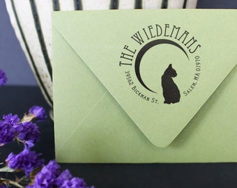 Personalized Address Stamp, Halloween Address Stamp, Custom Return Stamp, Cat Silhouette, Crescent Moon Stamp, Cat Address Stamp, Holidays