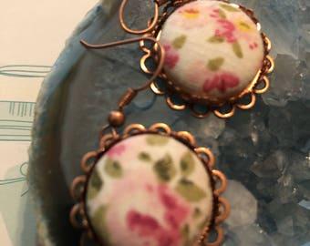 Mish Mash Fabric Button Earrings