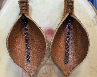 Leaf and Chain Earrings
