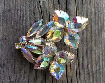 Large 1950s AB aurora borealis Rhinestone Crystal Flower Bouquet Brooch - Estate Jewelry, Mad Men, 1950s