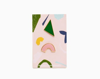 Plain Pins x Alison Willoughby - Emerald Green & Blush Pink