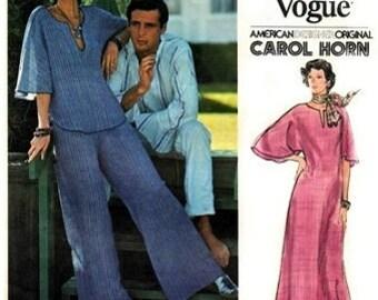 Vogue 1215 American Designer Original Boho Tunic, Pants and Caftan Dress by Designer Carol Horn Retro Sewing 1970s Sewing Pattern