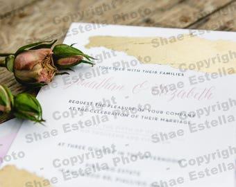 Letterpress Gold Foil Wedding Invitation Stationery Stock Photo