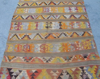 Turkish Kilim rug, area rug, 49'' x 106'', rug, vintage rug, bohemian rug, Turkish rug, rug, Soft color kilim, rug, colorful rug,
