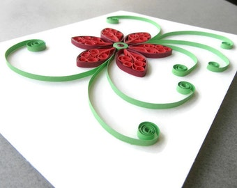 Paper Quilled Flower Card, Paper Anniversary Card, Birthday Card, Thank You Card, Sympathy Card, Red and Green Flowers, Paper Anniversary