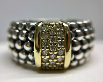 Lagos Caviar Diamond Ring, 18k Yellow Gold and 925 Sterling Silver - Size 10 1/2