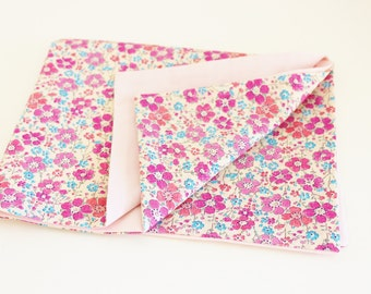 Pillow Case Liberty Clarisse blue and pink and pink fabric - ON ORDER