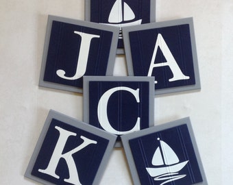 Gray and Navy Blue Nautical Baby Boy Nursery, Name Wall Letter SailBoat Room Decor, 6x6 Personalized Wooden Plaques Baby Shower Gift Ideas