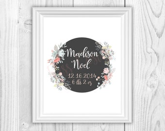 Baby Name with Flowers PRINTABLE / Nursery wall art / baby gift / wall decor / Baby name, DOB and weight art