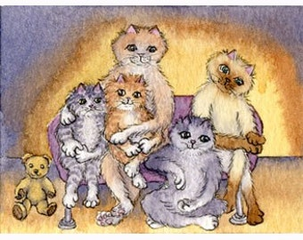 Cat kitten family photo teddy signed art print S Alison
