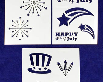 3 Piece Set -Mylar 14 Mil Patriotic Stencils Painting/Crafts/Stencil