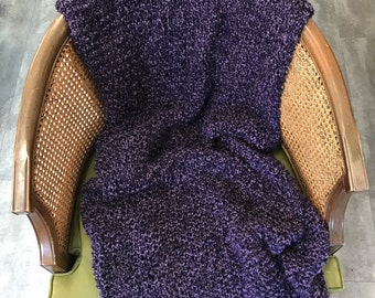 Luxurious Hand-Knit Throw in Plum