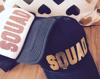 Custom trucker hat, squad hat, trucker hat, party hat, women cap, monogram cap, ladies cap, custom text cap, personalized trucker hat,
