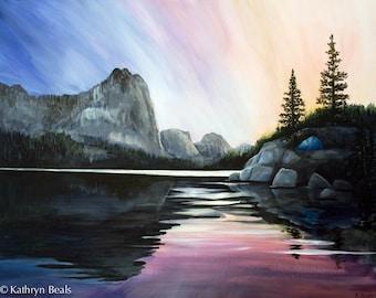 Sierra Mountains Tent Painting - Original Sunrise Painting on Canvas