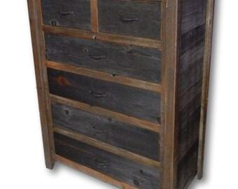 Reclaimed Barn Wood Six Drawer Dresser Chest
