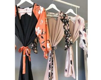 Floral Kimono / Summer Kimono / Loungewear / Black Kimono / Kimono Jacket / Beach Cover Up / Rose Satin Kimono