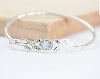 Blair * Celtic Bracelet * Sterling Silver * Celtic Blue Topaz Bracelet * Celtic Bangle * Celtic Knot * Irish Bangle * Celtic Knot Jewelry