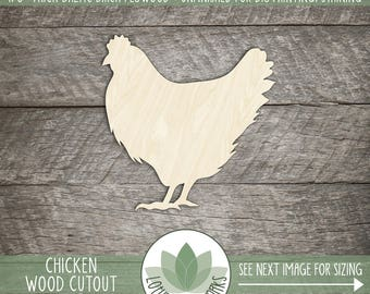Chicken Wood Cut Shape, DIY Laser Cut Wood Shapes, Farm Animal Wood Cut Shape, Blank Wood Shapes