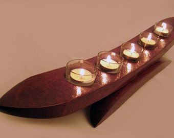Gondola, recycled oak wine barrel stave candleholder, 5 tea lights glass holders, cherry chocolate color