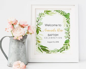 Baptism Invitation, Baptism, Christening, First Communion Gift, Centerpieces, Welcome Sign, Baptism Decorations, Communion Favors, Sign W4