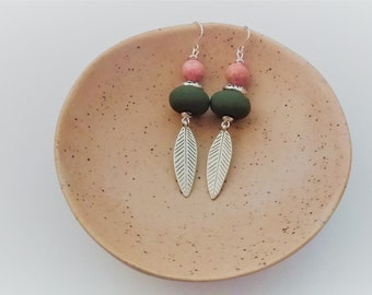 Olive, pink and silver feather dangle earrings