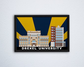 Drexel University Campus Poster ft. Main Building and Caneris Hall (East Residence Hall) - Dragons