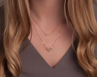 Gold or Silver Dainty Layered Necklace w/Heart and Pearl Bar, Heart Necklace Set, Initial Heart Necklace, Gold Layering Necklaces