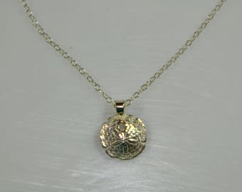 Necklace with sand dollar pendant, Sterling Silver, 18k gold, gold plated optional, handmade necklace, gift,