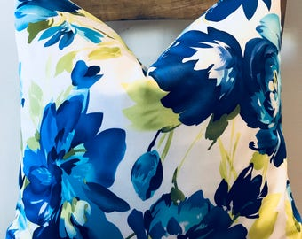 """Gorgeous floral print pillow in white cobalt blue and lime green sateen 18""""x18"""""""