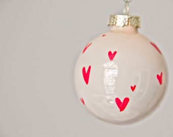 Petite Red Heart Christmas Ornament // Hand Painted // Valentine's Day // Love