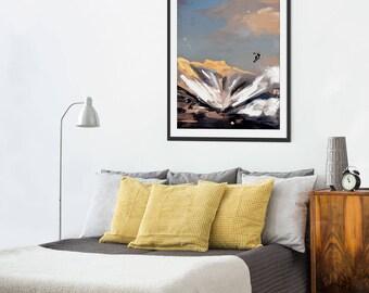 Mountain Print. Snowboarding. Mountain Art. Mountain Painting. Mountain Gifts. Wall Art. Wall Decor.