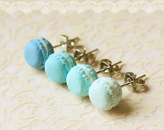 Food Earrings - Macaron Earrings in Lagoon Blue Series - Gifts Under 25