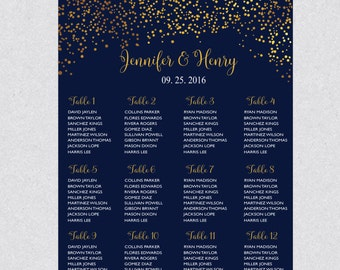 Printable Navy Gold Dots Confetti Wedding Seating Chart Template , Table plans seating , Editable Text Instant Download PDF WSC199