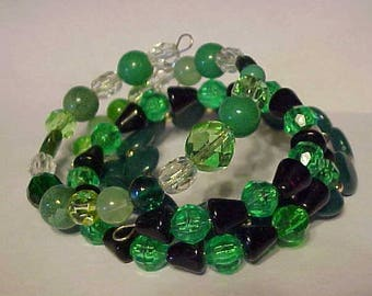 3 BEAD BRACELETS, Green Beads~~GLASS Beads,  Acrylic Beads, Colorful, in Style, Smart, Chic, 3 for price of 1, WoW!