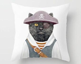 Pirate Cat Throw Pillow, Animal Crew Pillow, Decorative Cushion