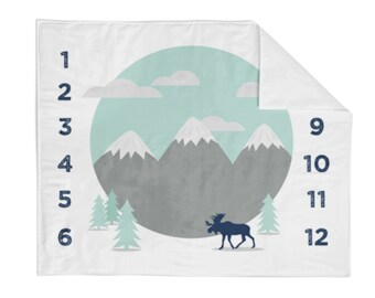 Monthly Milestone Blanket Mint Mountain - Crib Blanket - Baby Blanket - Tree Baby Blanket - Monthly Counter Blanket - Navy Baby Blanket
