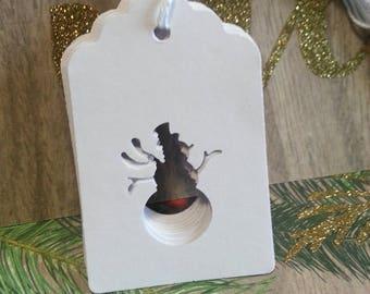 Christmas tags, Christmas gift tags, Holiday tags, Snowman tags, Set of 12