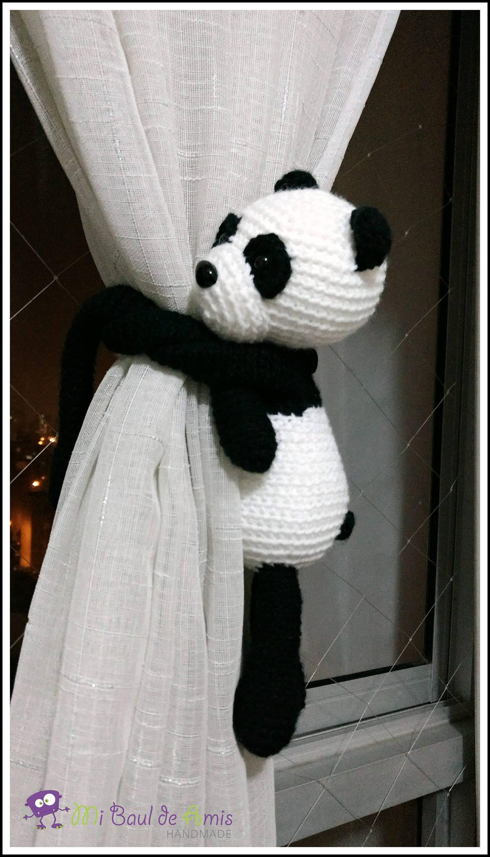 Häkeln Sie Panda Vorhang Raffhalter Satz von 2 Panda-Bär