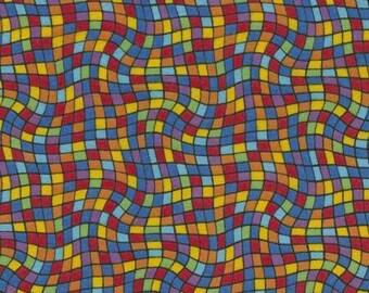 Wavy Check Rainbow Flannel Timeless Treasures fabric 1 yard