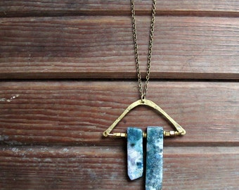 Threads of Green - Moss Agate Necklace - Long Brass Moss Agate Necklace - Green Stone Jewelry - Artisan Tangleweeds Jewelry