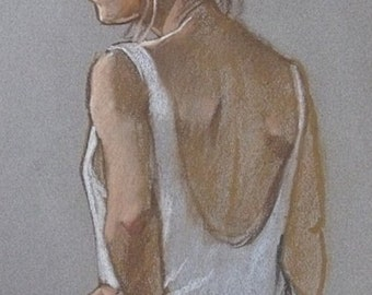 Ken Symonds Original Pastel Painting - Portrait Of Val (Cornish Art)