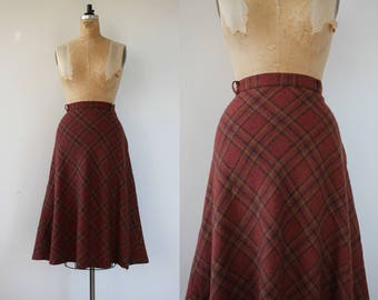 vintage 1970s skirt / 70s wool plaid skirt / 70s semi circle skirt / 70s wool skirt / 70s dusty maroon skirt / size large  31 waist
