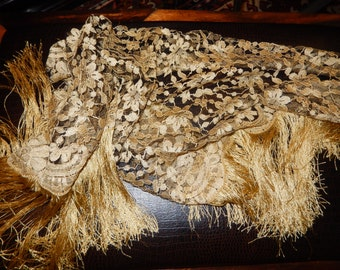 GOLD LACE SCARF or Shawl