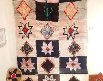 Moroccan new boucherouite rug (2.30X1.44 m) (7,5X4,7 feet) (90,5X56,7 inches)