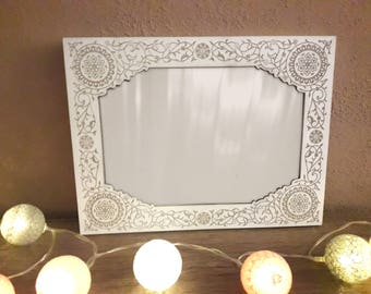 NEW!!! Wooden engraved photo frame, wooden picture frame, floral, white, A5, 4x7, 5x7 (inches) - to hang or stand vertically or horizontally