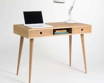 Computer table, wooden desk, oak wood, dressing table, bureau, with storage, mid century modern, scandinavian design
