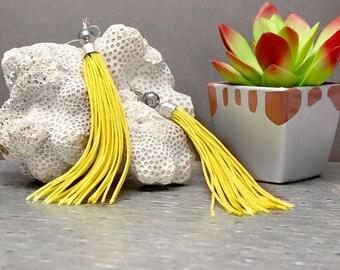 Yellow Tassel Earrings, Festival Earrings, Boho Earrings, Fringe Earrings, Long Earrings, Statement Earrings, Gift Idea, Bohemian Jewelry