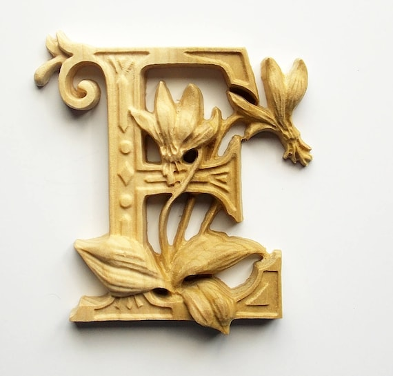 Wooden Letter E Erythronium Flower 10 x 8 Tall