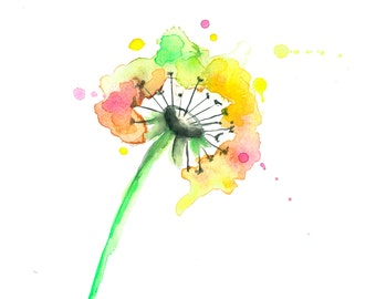 Dandelion Watercolor Print