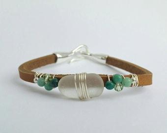 Sea glass bracelet, wire-wrapped leather bracelet, Beach glass bracelet, Wire wrapped bracelet, Leather bracelet, Jasper stone bracelet